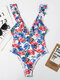 Women Floral Print Swimwear Flounce Trim Criss-Cross Backless Slimming One Piece - White