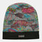 Women Floral Pattern Casual Fashion Breathable Outdoor Pleats Keep Warm Turban Beanie Hat - Grey
