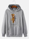 Mens Mechanical Bear Print Cotton Daily Drawstring Pullover Hoodie-7 Colors - Gray