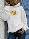 Sunflowers Print Long Sleeve Casual Plus Size Hoodie - White