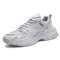 Men Sport Splicing Mesh Fabric Breathable Casual Chunky Sneakers - White