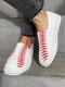 Plus Size Women Walking Lazy Slip On Canvas White Flat Sneakers - White