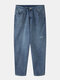 Mens Thicken Plus Velvet Distressed Casual Loose Warm Jeans - azul