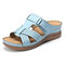LOSTISY Open Toe Hook Loop Casual Wedges Beach Gladiator Sandals