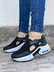 حذاء نسائي كاجوال نقي اللون خطاف وحلقة محبوكة وسادة هوائية للمشي - أسود