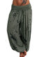 Loose Print Elastic Waist Casual Pants For Women - Army Green