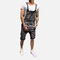 Men's Vintage Washed Denim Overalls Suspenders Ripped Casual Jeans Shorts