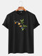 Mens Funny Planet Print Cotton Round Neck Casual Short Sleeve T-Shirts - Black
