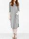 Asymmetrical Striped V-neck Plus Size Dress - Grey