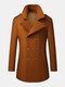 Mens Woolen Double Breasted Lapel Collar British Style Overcoats - Brown