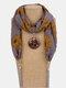 Vintage Chiffon Tassel Women Scarf Necklace Geometric Pendant Flower Leaf Pattern Shawl Necklace - #05