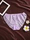 Women Flower Graphics Hollow Cozy Thin Mid Waist Panties - Purple