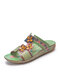 Socofy Bohemian Flower Decor Leather Hook Loop Hand Made Comfy Soft Flat Sandals - Green