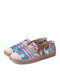 SOCOFY Bohemian Pattern Hollow Out Mesh Cloth Comfy Wearable Slip On Casual Espadrille Flat Shoes - Blue