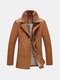 Wool Furry Collar Thicken Warm Mid Long Jacket Coats for Men
