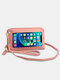Stylish Multi-slots Textured Hardware Stitch Detail Touch Screen On The Back 7.8 Inch Detachable Phone Bag Clutch Bag - Pink