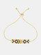 Ethnic Colored Gems Women Bracelet Adjustable Vintage Demon Eye Inlaid Rhinestone Bracelet - #04