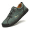Men Rubber Toe Hand Stitching Microfiber Leather Casual Shoes - Green