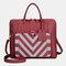 Women Design Striped Business Handbag Multifunction Crossbody Bag - Red