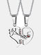 1 Pair Simple Key Splicing Couple Necklace Set Stainless Steel Heart Pendant Necklace Valentine's Day Gift - Silver