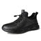 Men Cow Leather Comfy Wearable Outdoor Casual Sneakers - Black