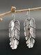 Vintage Alloy S925 Bohemia Palm Leaf Handmade Hinged Dynamic Tree Leaf Oxidized Earrings - Silver