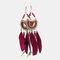 Bohemian Metal Tassel Stripe Beads Earrings Vintage Long Feather Dangle Earrings Women Gift - Red