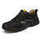 Men Genuine Leather Slip Resistant Elastic Lace Casual Outdoor Hiking Shoes - Black