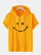 Mens Smile Pattern Short Sleeve Preppy Hooded T-Shirt - Yellow