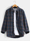 Mens Plus Velvet Plaid Warm Thick Casual Lapel Long Sleeve Shirts Jackets With Pocket - Navy