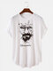 Mens Ink Portrait Letter Print Light Casual High Low Short Sleeve T-Shirts - White