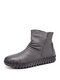 SOCOFY Solid Color Folds Soft Cowhide Leather Comfy Soft Sole Flat Short Boots - Gray