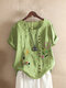 Embroidery Floral Short Sleeve O-neck Vintage T-shirt - Green