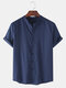 Mens Breathable Flax Stand Collar Solid Color Short Sleeve Shirt - Navy Blue