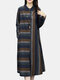 Striped Print Button Long Sleeve Casual Dress for Women - Navy
