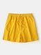 Pantalones cortos deportivos para correr con cordón casual de secado rápido de color puro para hombres - Amarillo