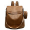 Women PU Soft Leather Anti-theft Backpack Casual Shoulder Bag