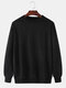メンズコットンサイドウェビングリラックスフィットクルーネックスウェットシャツ - 黒