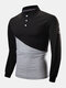 Mens Two Tone Stitching 100% Cotton Long Sleeve Casual Golf Shirts - Black