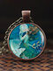 Adjustable Mountain Sea Fish Men Women Necklace Printed Glass Pendant Necklace - #07