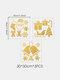 3 шт. Рождественский стикер стены Рождественский колокольчик Рождественский чулок стикер украшения стены - Золото