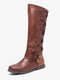 Women Large Size Stitching Decoration Non Slip Mid Calf Flat Boots - Brown