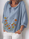 Floral Printed O-neck 3/4 Sleeve Blouse For Women - Blue