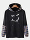 Mens Plaid Patchwork Faux Twinset Smile Casual Pullover Hoodie - Black