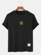 Mens Cotton Solid Color Small Sun Breathable Loose O-Neck T-Shirts - Black