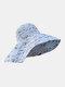 Chapeau de seau de protection solaire de bord surdimensionné d'impression de motif floral de dacron de femmes - Bleu gris clair