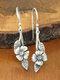 Vintage Rose Flower Leaf Women Earrings Two-Tone Symmetrical Pendant Earrings - Silver