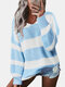 Contrast Color Striped Print Long Sleeves Sweater for Women - Blue