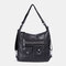 Women Multi-carry Waterproof Hardware Anti-theft Crossbody Bag Shoulder Bag Backpack - Black