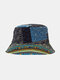 Women Cotton Double-sided Wearable Ethnic Cashew Flower Print Patchwork Casual Sunshade Bucket Hat - Blue